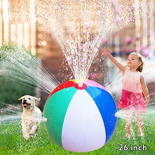 Water Spray Ball Toys for Kids Splash Balls Outdoor Toys Inflatable Splash Toys Beach Balls Outdoor Garden Backyard Games Summer Party Favors for Toddlers Water Fun Party Play Sprinkler Ball (26 inch)