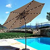 BEAU JARDIN 9 ft Solar Powered Patio Umbrella 32 LED Lights with Push Button Tilt Adjustment and Crank System 8 Rib Steel Pole Deluxe Outdoor Market Table Backyard Deck Poolside Polyester Tan