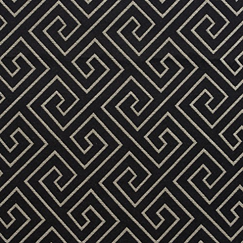 Ebony Greek Key Black Gray Silver Contemporary Abstract Geometric Damask Jacquard Linen Silk Looks Fade Resistant Upholstery Fabric by the - Silk Upholstery Silver