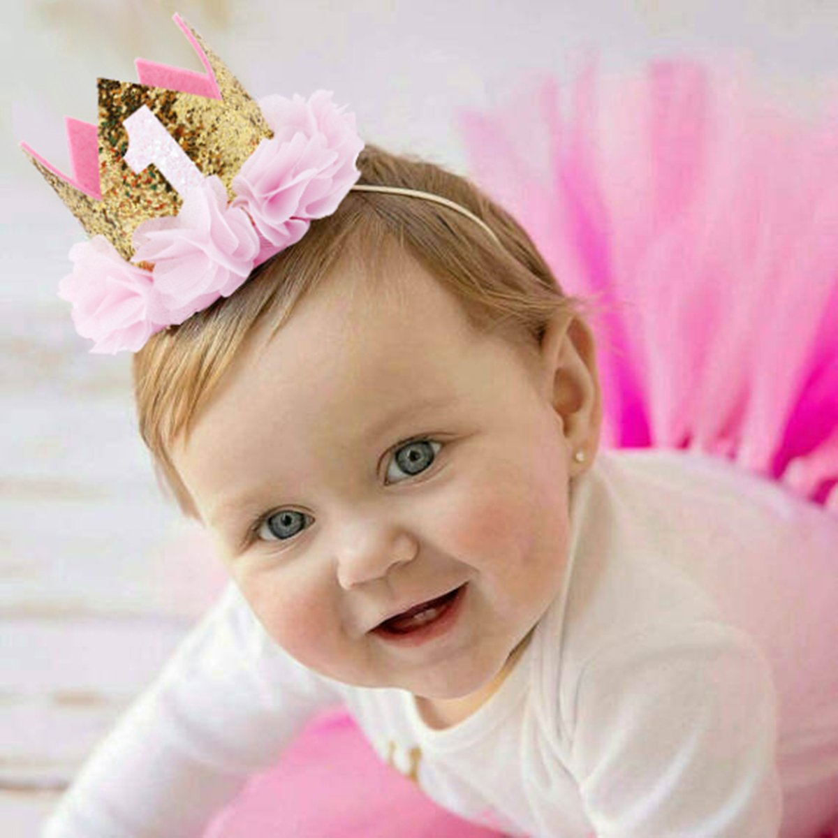 COUXILY Babys Birthday Hat Headband Princess Crown Party Tiara Hair Accessory FS02