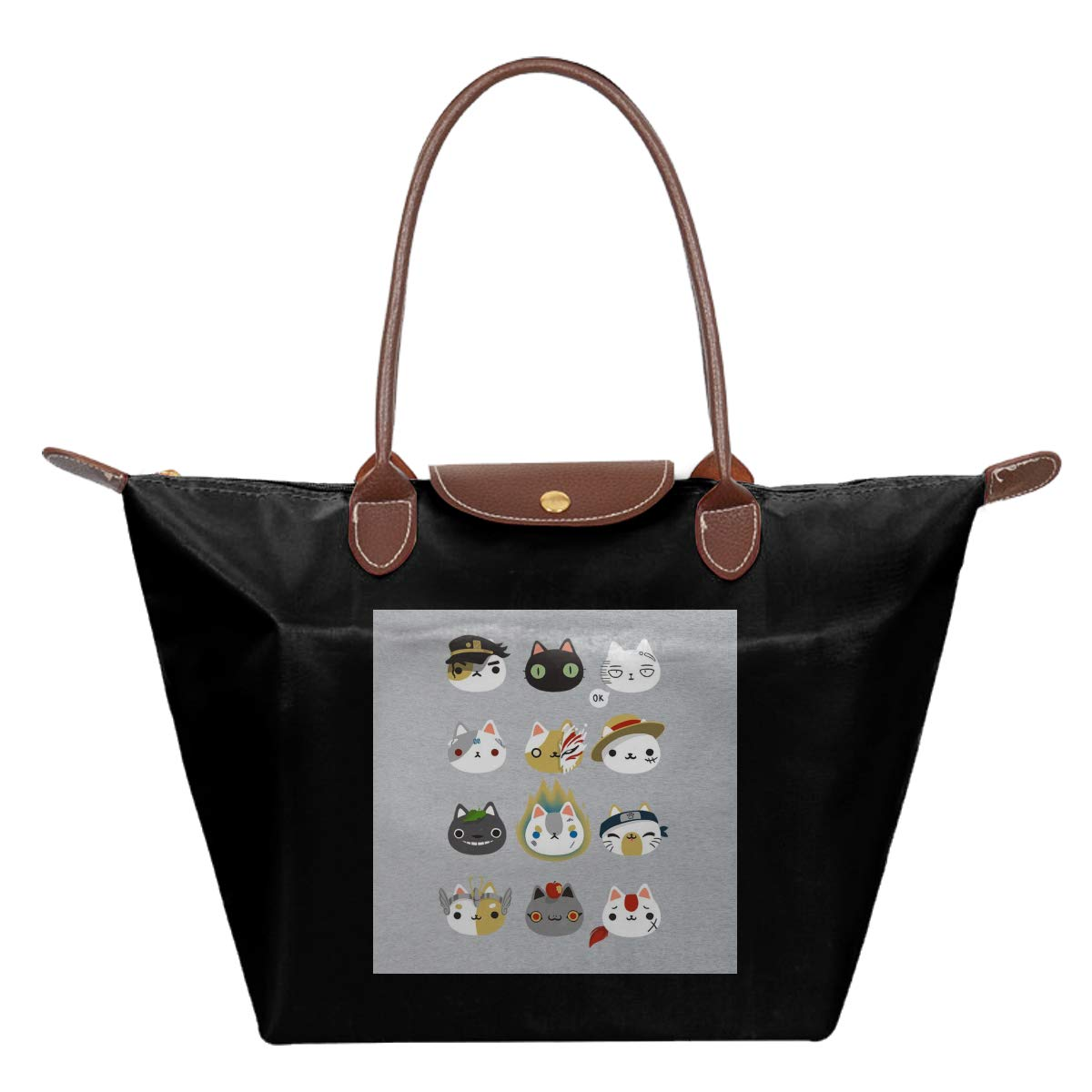 Cosplay Cats Waterproof Leather Folded Messenger Nylon Bag Travel Tote Hopping Folding School Handbags