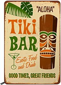 Swono Tiki Bar Tin Signs,Aloha Hawaii Good Times Great Friends Vintage Metal Tin Sign for Men Women,Wall Decor for Bars,Restaurants,Cafes Pubs,12x8 Inch