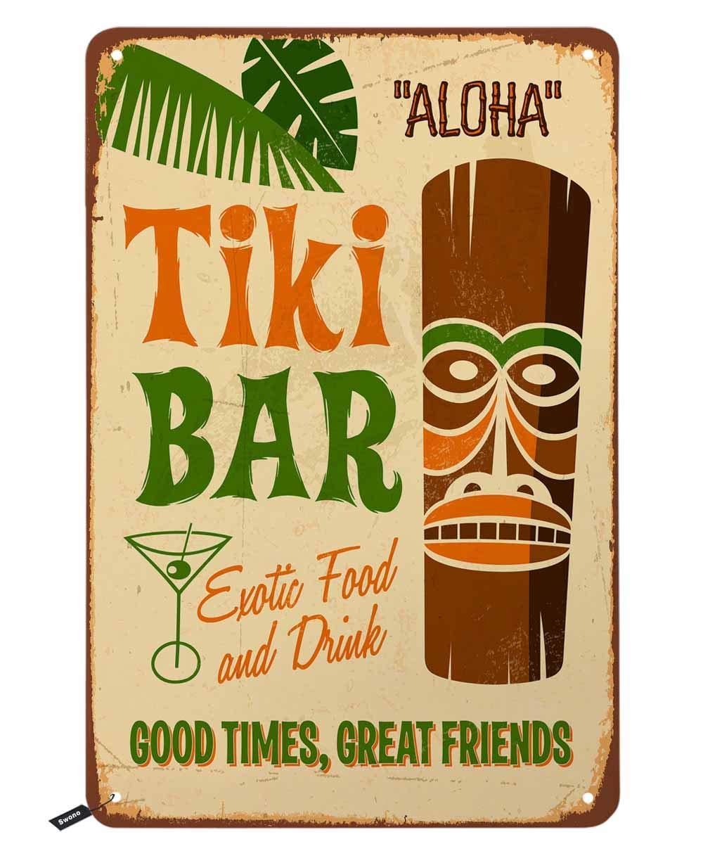 Swono Tiki Bar Tin Signs,Aloha Hawaii Good Times Great Friends Vintage Metal Tin Sign for Men Women,Wall Decor for Bars,Restaurants,Cafes Pubs,12x8 Inch