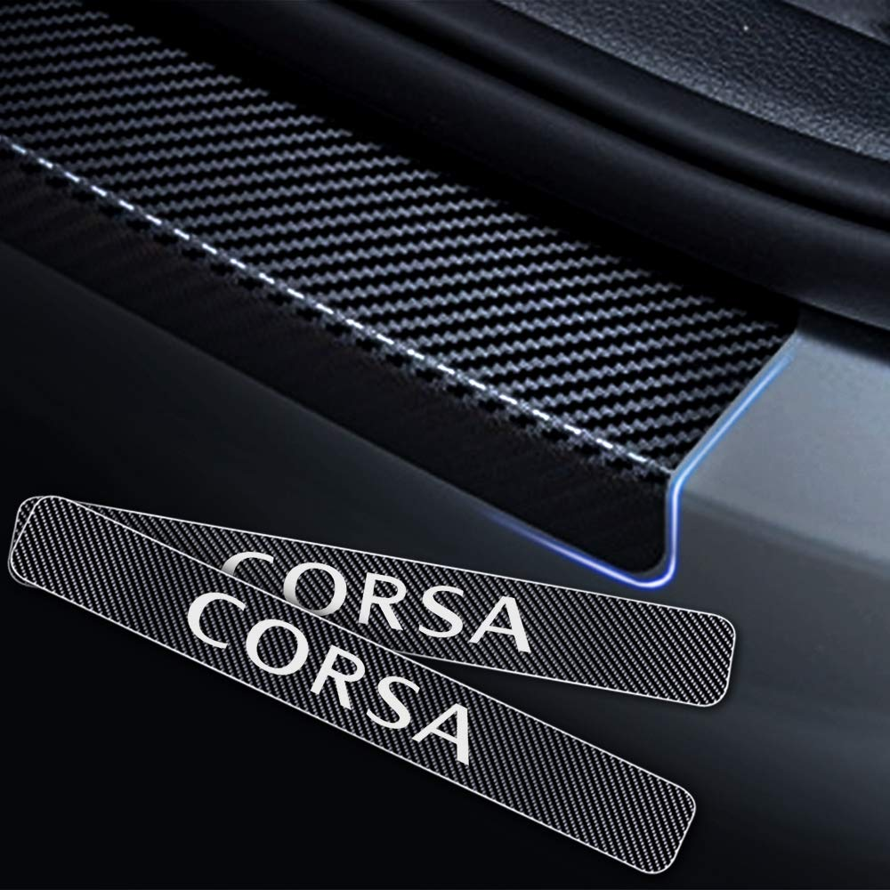 For Corsa 4D M Car Pedal Covers Door Sill Protectors Entry Guard Scuff Plate Trims Anti-Scratch Reflective Carbon Fiber Stickers Auto Accessories Exterior Styling 4Pcs Red
