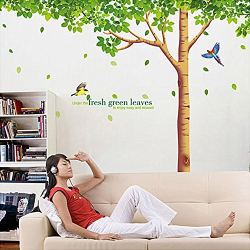 COFFLED Huge Wall Decal Stickers Bright Green Tree ,Removable Waterproof and Dirt-proof Vinyl Wall Decoration for Bedroom,Sitting Room or TV Background (Blessings Decal Auto compare prices)