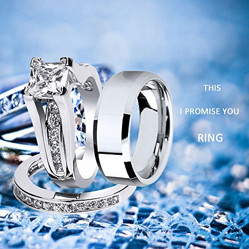 MABELLA Wedding Ring Sets Couples Rings Women's Sterling Silver Princess CZ Men's Stainless Steel Bands by MABELLA (Image #8)