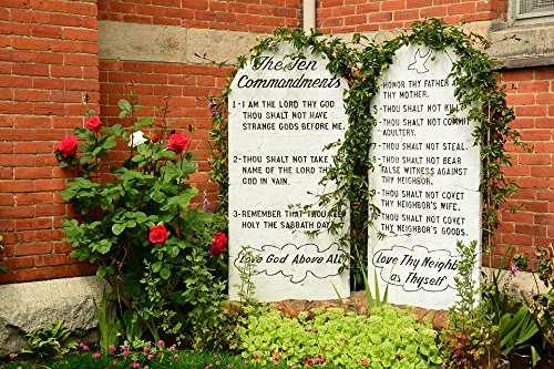 Home Comforts Laminated Poster Stone Religion Stone Tablets Ten Commandments Rules Poster Print 24 x 36 ()