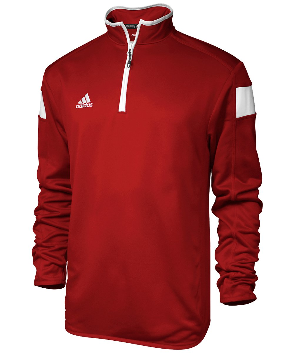 adidas climalite Shockwave 1/4 Zip Long sleeve, Power Red/White, Medium by adidas
