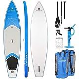 FIT OCEAN Cruise blau NUR 11KG Aufblasbares 15 cm Dickes Stand Up Paddle Board allein und für die ganze Familie. 365x86x15. inkl. Doppel-hub Pumpe, Grosse Rucksack und Anleitung