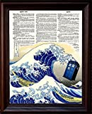 Dictionary Art Print - Tardis and the Great Wave - Printed on Recycled Vintage Dictionary Paper - 8.5