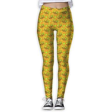 4e2ad4451e9 Amazon.com: Yellow Pattern-Fruit Basket Leggings for Women Soft High ...