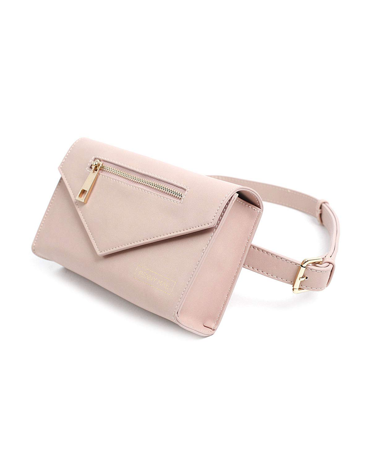 Penny Mae Abigail Leather Fanny Pack Waist Bag | Blush Pink Cute Trendy Womens All Purpose Travel Bag