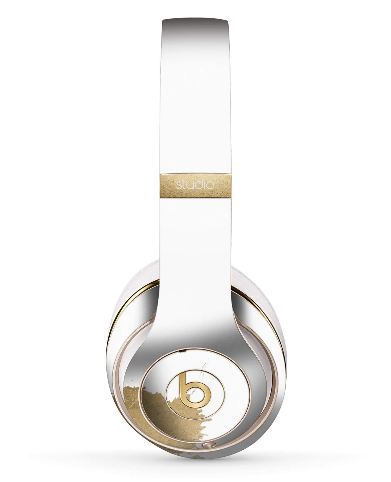 Gold Foiled White v2 Design Skinz Full-Body Premium Authentic Skin Kit for The Beats by Dre Studio 2 or 3 Remastered Wireless Headphones Ultra-Thin Protective Decal Wrap