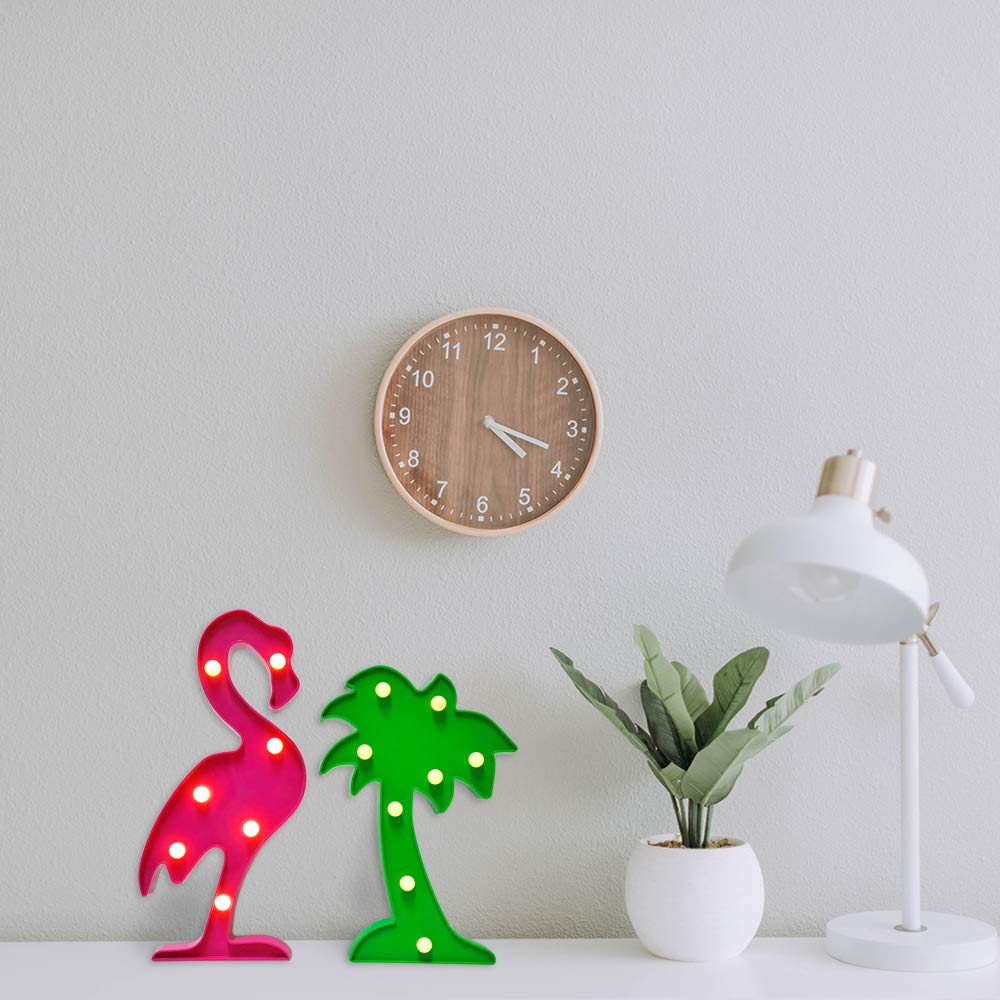 2-Set Flamingos Palm Tree lamp AceList Birthday Luau Party Decoration Light Wall Lamp Signs Home Party Festivals Romantic Night