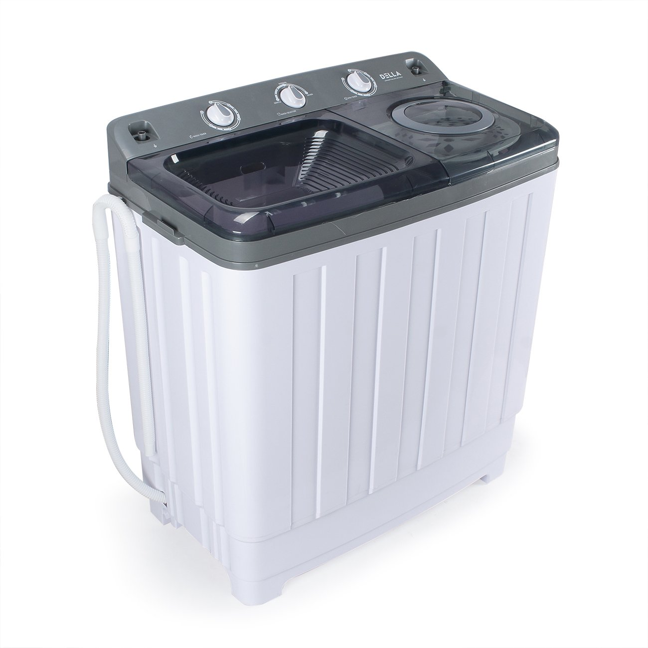 DELLA | Portable Washing Machine | Dual Twin Tub | Spin Dry | Built in Pump | 14KG | 30 LBS. Capacity| Dorm | Home | RV | White