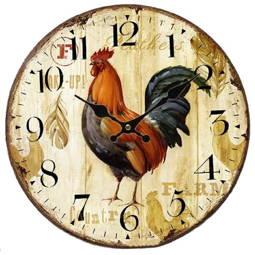SODIAL(R) Vintage Shabby Chic Animals and flowers Style 34cm Wall Clock Home Bedroom Kitchen Quartz (Pattern:Farm) by SODIAL(R)