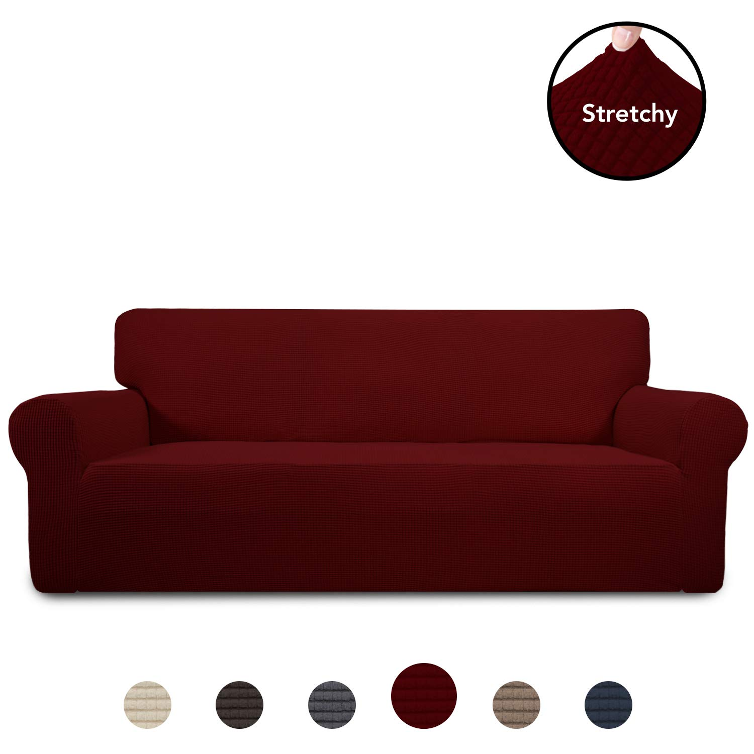 PureFit Stretch Sofa Slipcover – Spandex Jacquard Anti-Slip Soft Couch Sofa Cover, Washable Furniture Protector with Anti-Skid Foam and Elastic Bottom for Kids (Sofa, Wine)