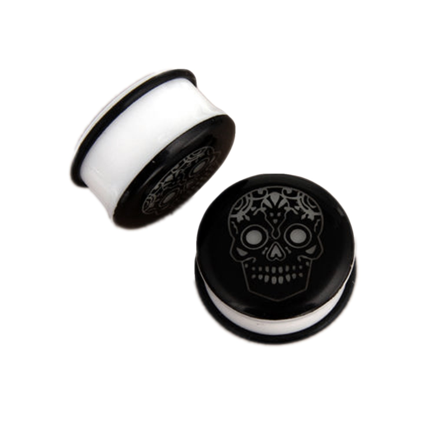 JewelryVolt Glow in the dark Sugar Skull Acrylic single flare Solid ear plug gauges with O ring Black and White