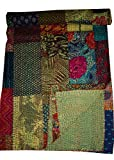 Tribal Asian Textiles Block Print Patch Work Kantha Blanket Bedspread, Patch Kantha Throw,Kantha, Kantha Rallies Indian Quilt (Green)
