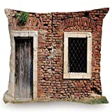KissCase Throw Pillow Cushion Cover,Rustic,Old Door and Window Brick Wall Suburban Area European Aged House Entrance,Brown Cream Redwood,Decorative Square Accent Pillow Case