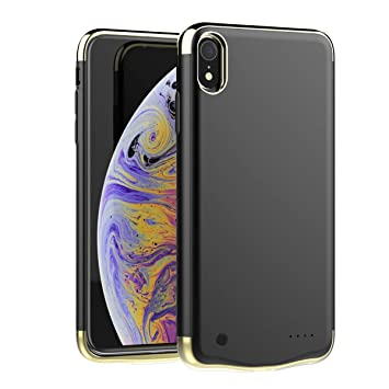 Happon Funda Bateria iPhone XR, 6000mAh Batería Cargador Externa Ultra Carcasa Batería Recargable Power Bank Portatil para iPhone XR - Negro