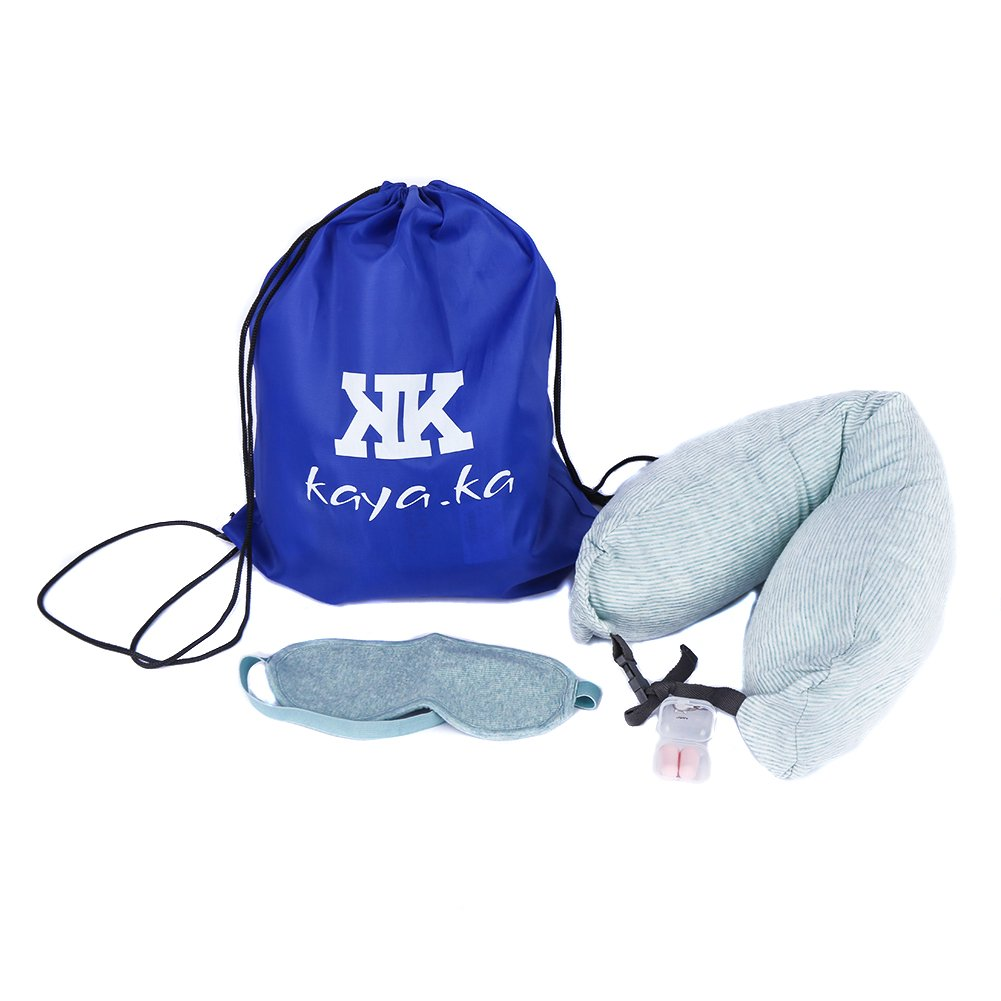 KaYaka Travel Pillow Memory Particle Adjustable Neck Pillow Travel Pillow,Sleep Mask and Earplugs and Travel Bag for Lightweight Support in Airplane, Car, Train, Bus and Home