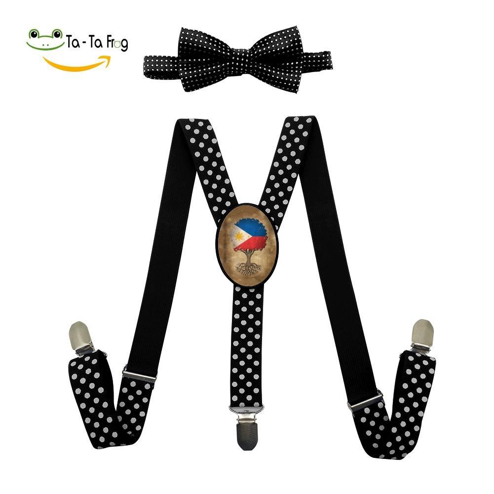 Xiacai Vintage Tree Suspender/&Bow Tie Set Adjustable Clip-On Y-Suspender Boys