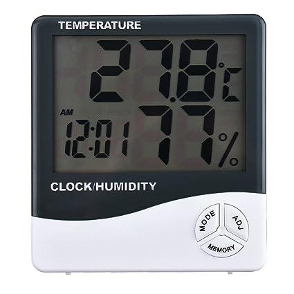 Termómetro Higrómetro Reloj Digital Data con pantalla LCD 12/24 Horas Alarma