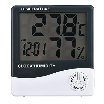 Reloj termómetro higrómetro que mide la temperatura y la humedad de la casa: Amazon.es: Bricolaje y herramientas