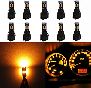 WLJH High Bright Yellow T5 Dash Light Bulbs Car Replacement Instrument Cluster Gauge Panel Warning Indicator Lights 73 74 286 2721 Led Bulb with PC74 Twist Lock Sockets,Pack of 10