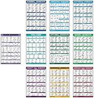 10 Pack - Exercise Workout Poster Set - Pilates, Dumbbell, Suspension, Kettlebell, Resistance Bands, Stretchin