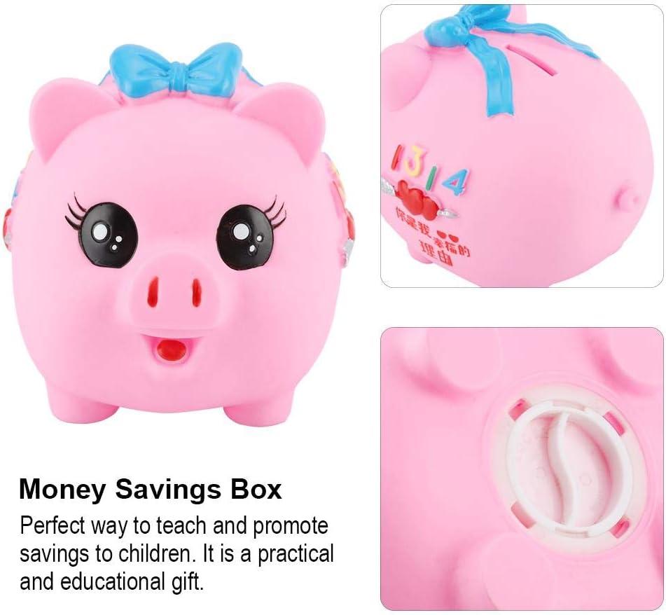 "Children's plastic transparent coin money saving box piggy bank 6"" storage"