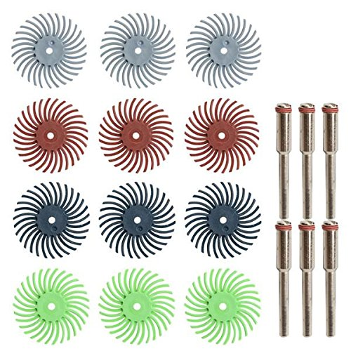 EsportsMJJ 24pcs 80-1000 Grit Radial Bristle Disc Brush Polishing Burr with 3mm Mandrels