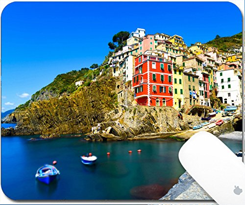 Luxlady Gaming Mousepad 9.25in X 7.25in IMAGE: 34599678 Riomaggiore village on cliff rocks and sea at sunset Seascape in Five lands Cinque Terre National Park Liguria Italy Europe Long - Park Sun Land