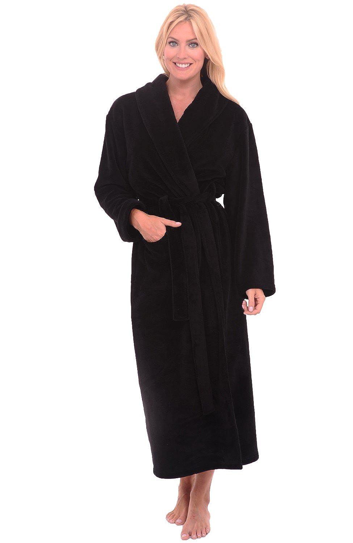 d840f2e928 Alexander Del Rossa Womens Fleece Solid Color Robe