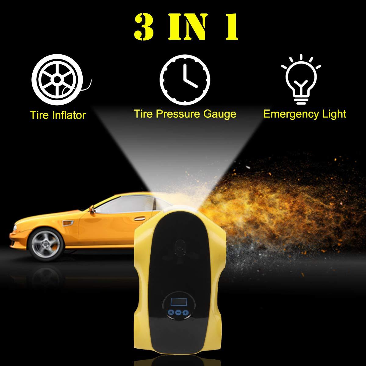 Rot AziPro Auto Kompressor Tragbarer Luftpumpe Digital Inflator Elektrischer Reifen Inflator Auto Luftpumpe mit LED-Leuchten f/ür Automobil Fahrr/äder B/älle 12V DC,150 PSI