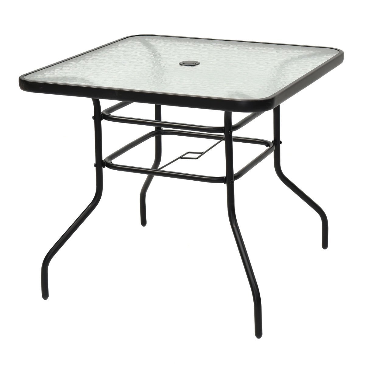 Tangkula 31 1/2'' Square Tempered Glass Metal Table Outdoor Garden Pool Table