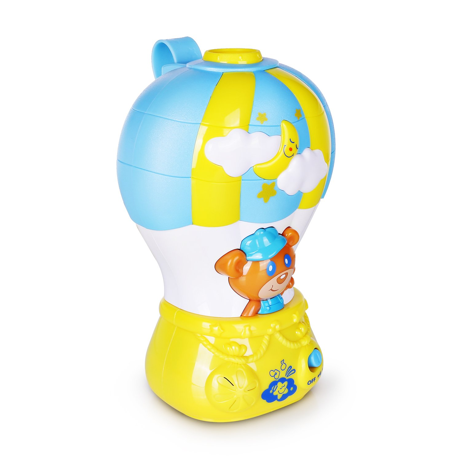 Happkid Baby Crib Soother Baby Soother for Sleep Air Balloon Light Soothe with Colored Projector and Melodies