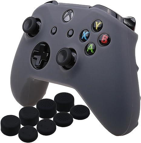 YoRHa silicona caso piel Fundas protectores cubierta para Microsoft Xbox One X y Xbox One S Mando x 1 (gris) Con Pro los puños pulgar thumb grips x 8: Amazon.es: Videojuegos