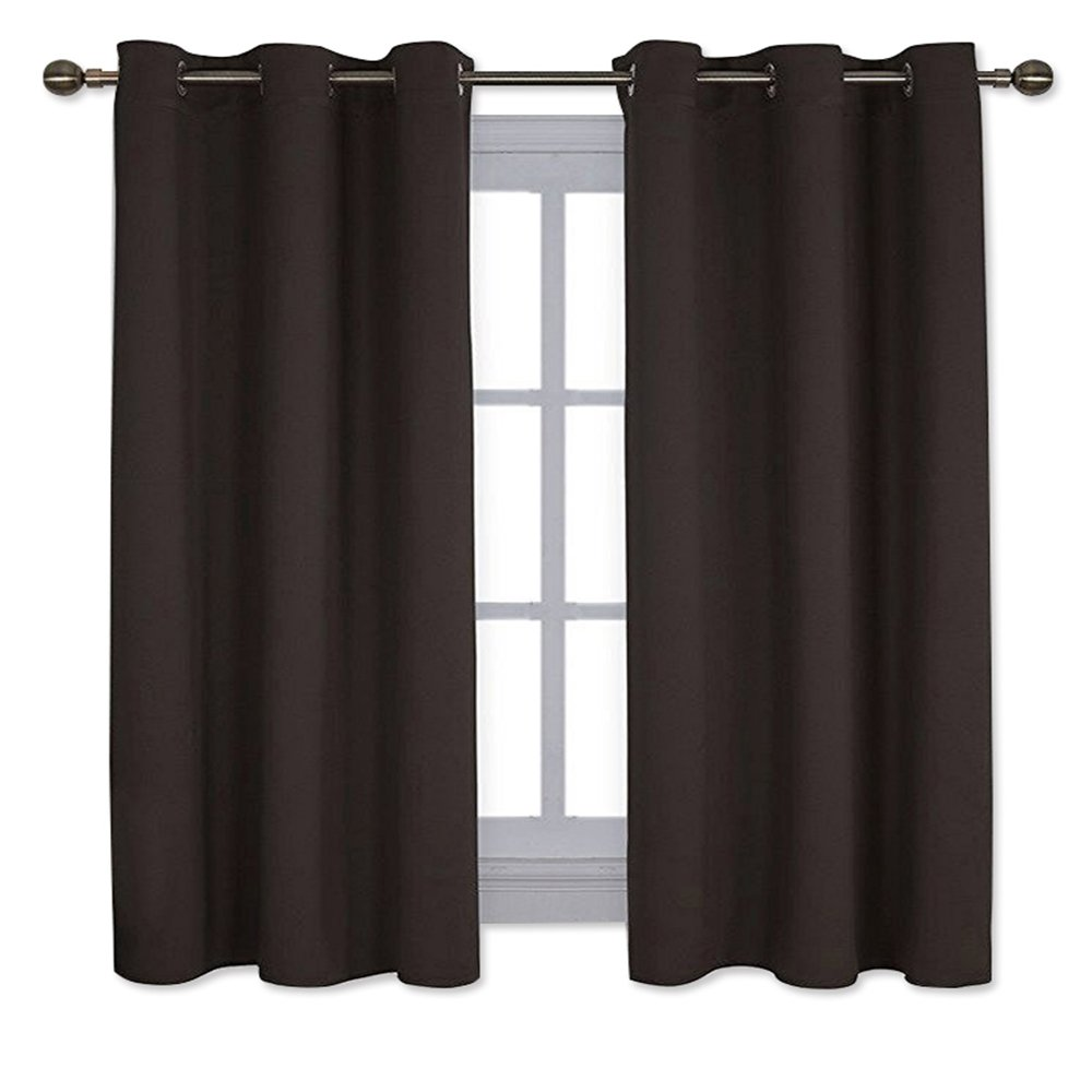 NICETOWN Triple Weave Microfiber Energy Saving Thermal Insulated Solid Grommet Blackout Curtains for Bedroom (One Pair,42 Inch by 63 Inch,Toffee Brown)