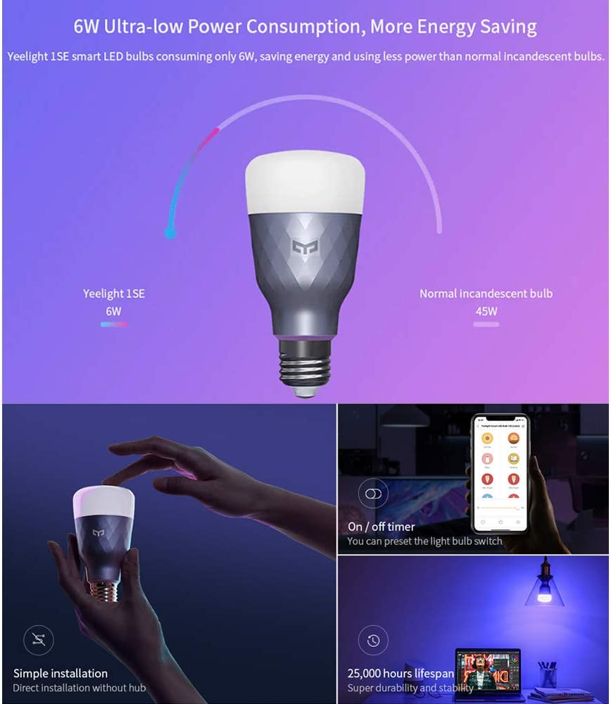 Galapara AC100-240V 6W RGBW Intelligent LEDs Light Bulb E27 Base Colourful Light Version Music Rhythm Color Changing Brightness Adjustable Compatible with MIJIA//Homekit for Home Decoration Party