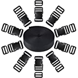EnewLife 2 Inch Plastic Buckles Kit Include 8 Pack Side Release Plastic Buckles and 8 Pack Tri-Glide Slides with 5 Yards Black Nylon Webbing Strap 8 Pack 2 Inch