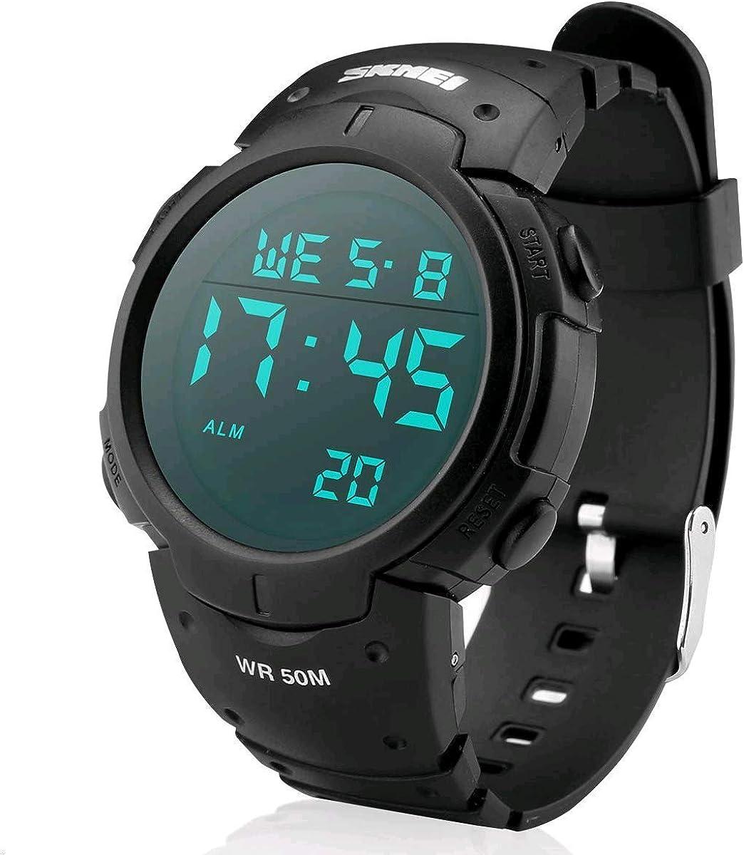 Reloj Electronico,Digital Reloj Deportivo Militar Impermeable de 50m de Multifunciones con Cronómetro, Cronógrafo, Fecha y Alarma, de Goma para Deportes Exteriores para Hombres (Negro)