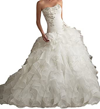 PHSOAR Women\'s Organza Sweetheart Neckline Cascading Ruched Wedding ...