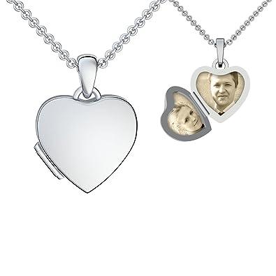 12008c67cf1a Foto Medaillon Herz Silber 925 Herz-Kette Herz-Anhänger zum Öffnen mit Kette  GRATIS