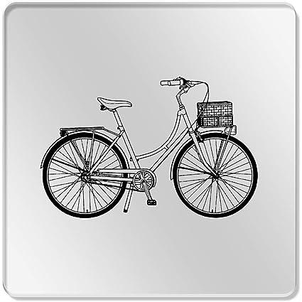 Azeeda 6 x Bicicleta Vintage Cuadrado Transparente Posavasos ...