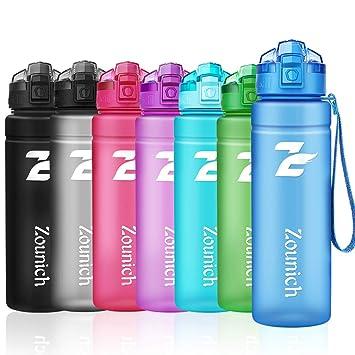 ZOUNICH Botella Deportiva bpa Reutilizable tritan plástico - Filtro Protector no tóxico - 500 ML /