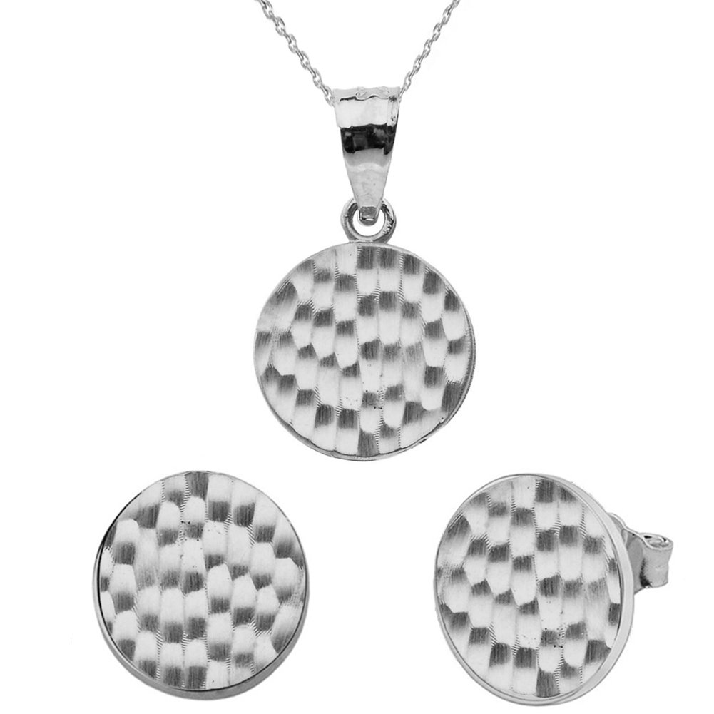 Fine 10k White Gold Love Hammered Round Charm Pendant Necklace and Earring Set, 18''