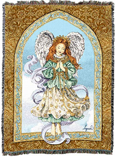 - Pure Country Weavers | Angel in Prayer Woven Tapestry Throw Blanket with Fringe Cotton USA 72x54