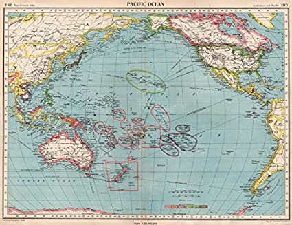 Amazoncom Pacific Oceanshowing Post Ww2 Coloniesbritish Us - Pacific-ocean-on-us-map